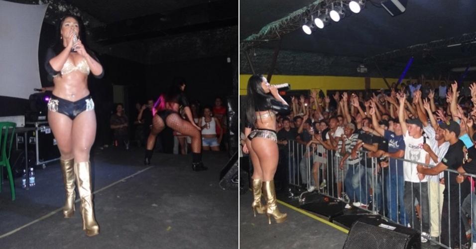 Com micro short e botas douradas, Andressa Soares, a Mulher Melancia fez  a felicidade do público masculino em show  em Pouso Alegre, Minas Gerais (20/1/12)