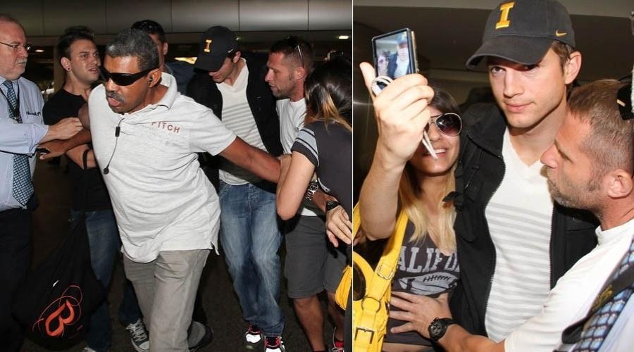 Ashton Kutcher desembarca em aeroporto de São Paulo para participar de desfile no SP Fashion Week (22/1/12)