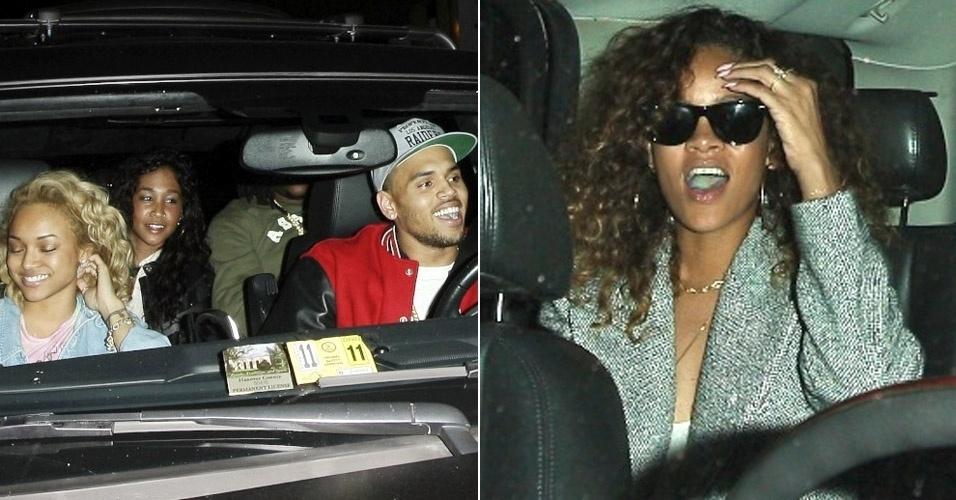 Após rumores de que estariam juntos novamente, Rihanna e Chris Brown vão a mesma boate em West Hollywood, na Califórnia, mas o rapper aparece acompanhado da namorada, Karrueche Tran  (à esquerda) (23/1/12)