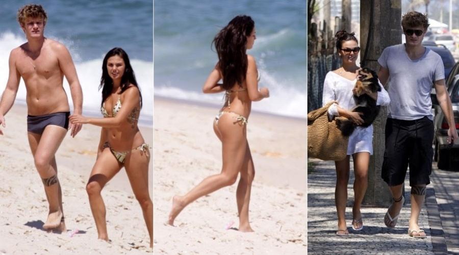 Ísis Valverde curte praia com o namorado, Tom Rezende, no Rio (24/1/12)