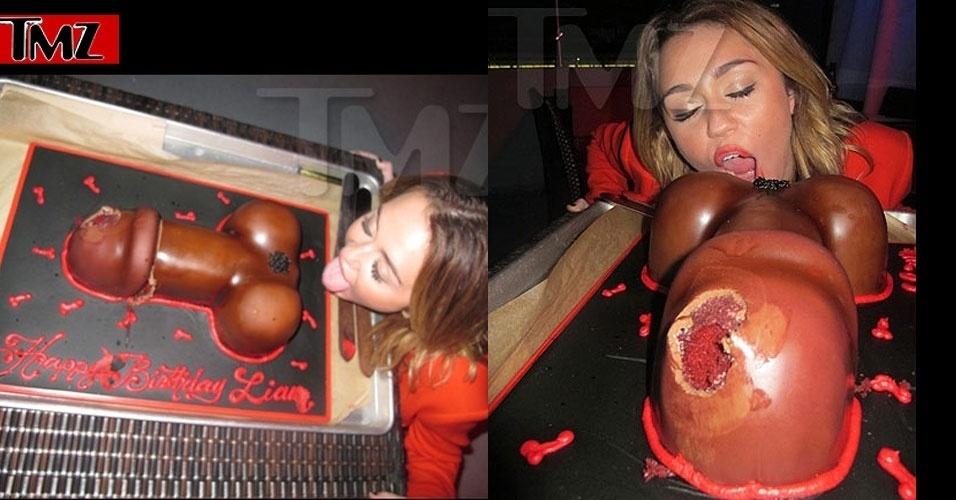 A cantora Miley Cyrus comemorou o aniversário de seu namorado, Liam, no último sábado (21/1/12), lambendo um bolo erótico, informou o site TMZ. Tudo, é claro, regado a muito álcool