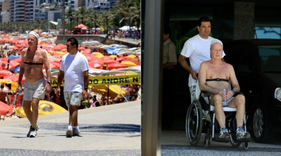 Gilberto Braga caminha pela orla do Arpoador, zona sul do Rio (25/1/12)