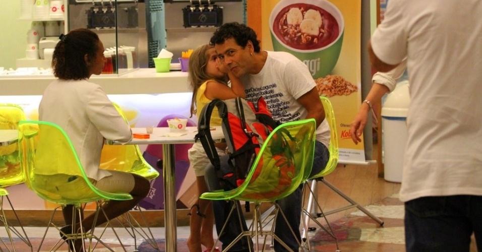 Marcos Palmeira faz passeio com a filha, Júlia, em shopping do Rio (26/1/12)