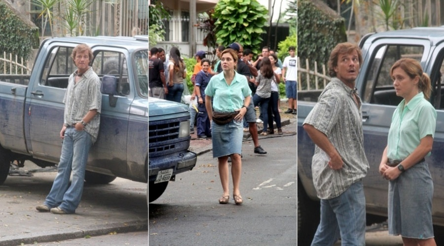 Adriana Esteves e Marcello Novaes gravam cenas de
