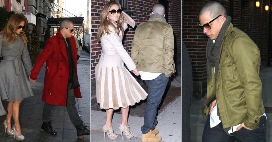 Jennifer Lopez e o novo namorado Casper Smart passeiam de mãos dadas em Manhattan, em Nova York. Na foto ao lado, o casal ao sair do programa