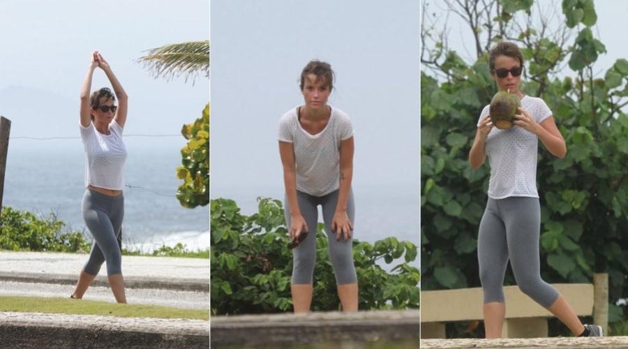 Juliana Didone se exercita pela orla da praia da Barra da Tijuca, zona oeste do Rio (31/1/12)