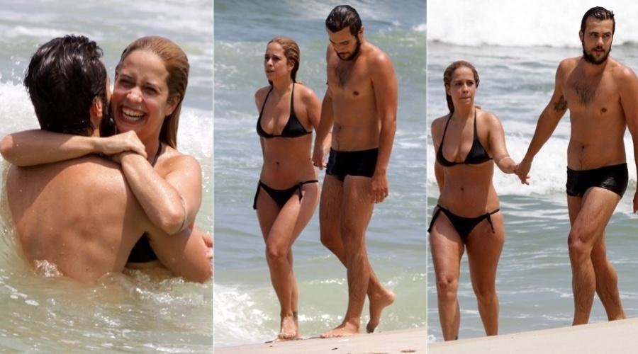 Paloma Duarte e Bruno Ferrari curtem praia no Recreio, zona oeste do Rio (2/2/2012)