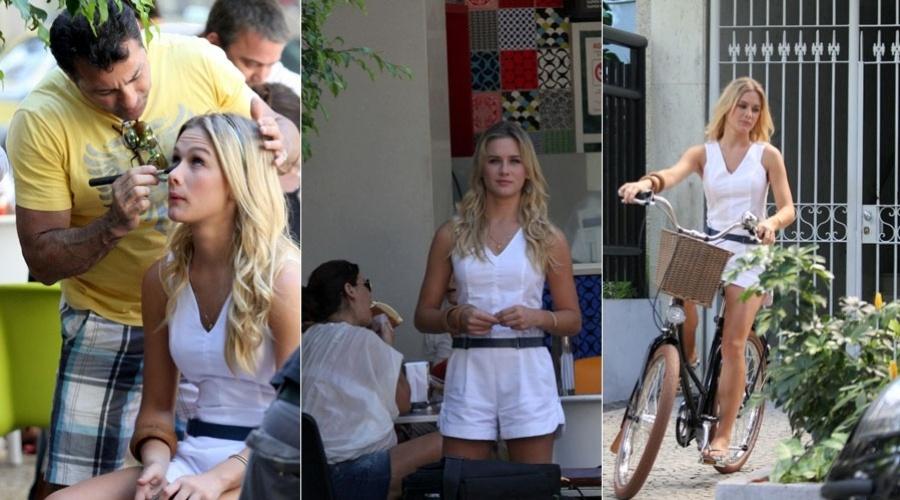 Fiorella Matheis grava comercial em Ipanema, zona sul do Rio (3/2/2012)