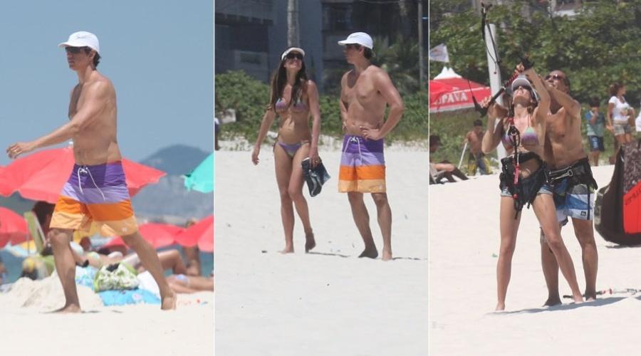 Márcio Garcia e a esposa, Andrea Santa Rosa, curtem praia na zona oeste do Rio (5/2/2012)