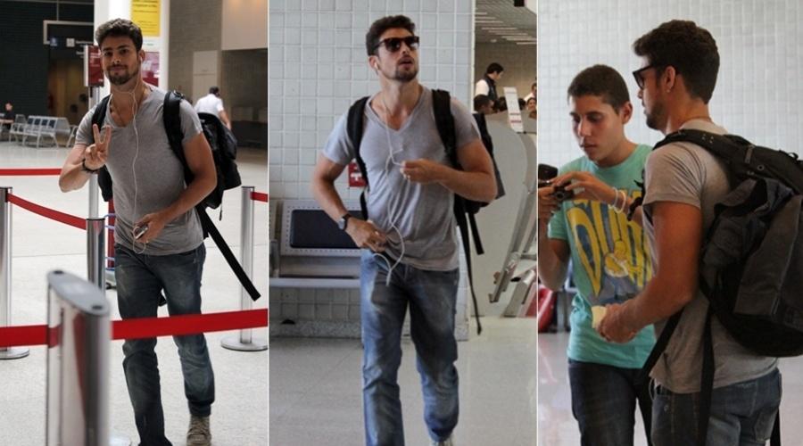 Cauã Reymond circula pelo aeroporto Santos Dumont, centro do Rio (7/2/2012)