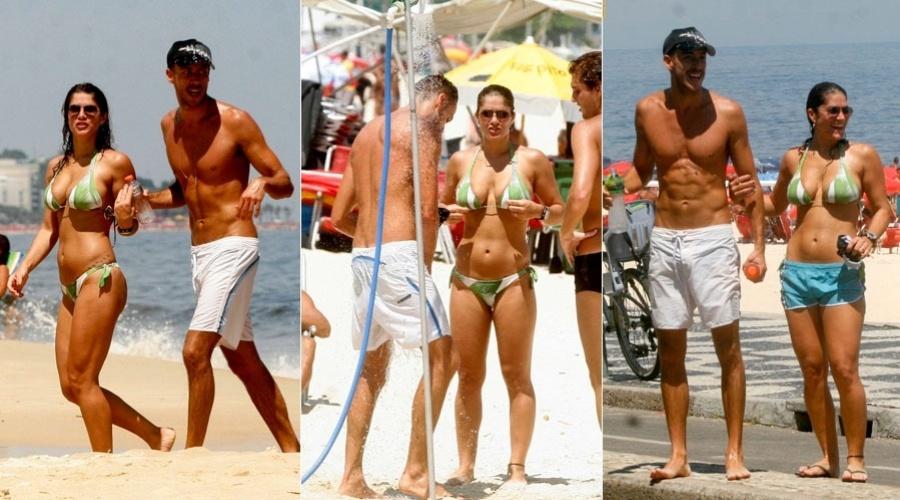 Priscila Fantin curte praia acompanhada no marido, Renan Abreu, na zona sul do Rio (7/2/2012)