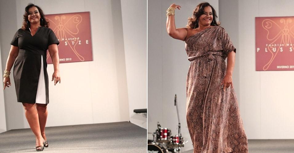 A atriz Solange Couto desfila moda plus size em evento voltado para as mulheres gordinhas em São Paulo (11/2/2012)