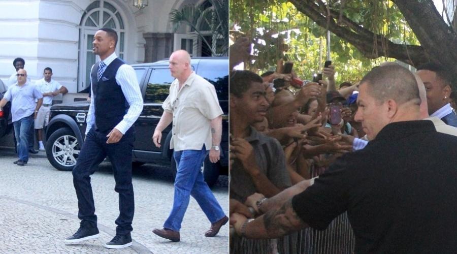 Will Smith fala com os fãs na porta do hotel Copacabana Palace, onde está hospedado no Rio (24/2/2012)