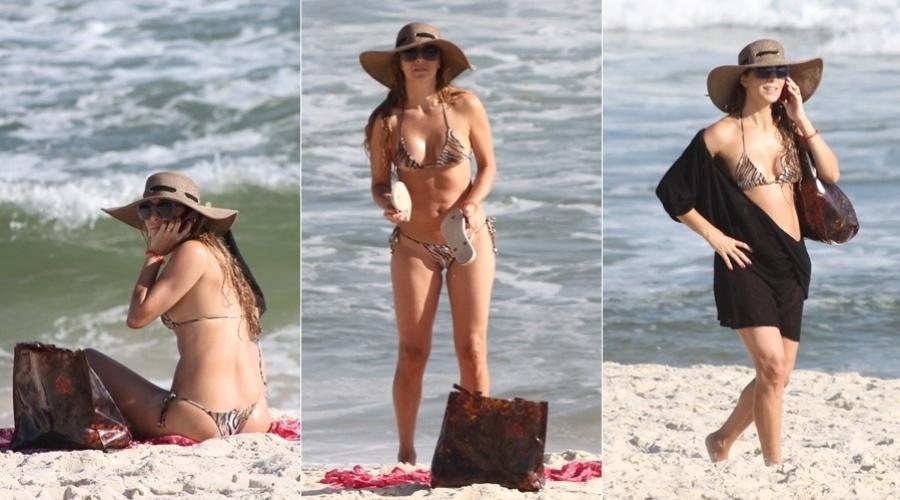 Christine Fernandes curte praia na Barra da Tijuca, zona oeste do Rio (27/2/2012)