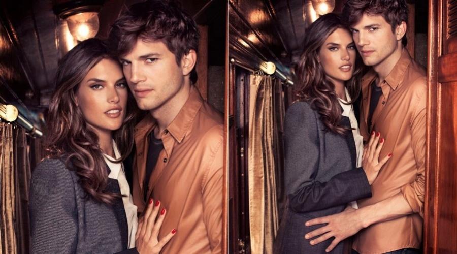 Alessandra Ambrósio e Ashton Kutcher na campanha de Outono/Inverno 2012 da grife Colcci (28/2/2012)