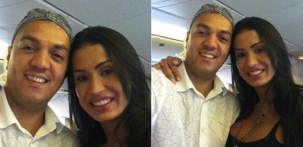 Belo e Gracyanne embarcam para a Angola (28/2/2012)