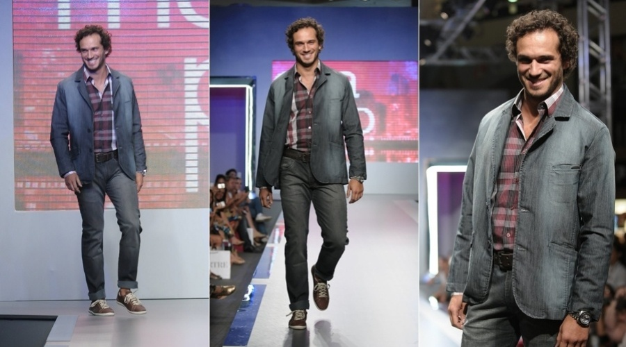 Paulo Rocha desfila em evento de moda em S&#227;o Paulo (28/2/2012)