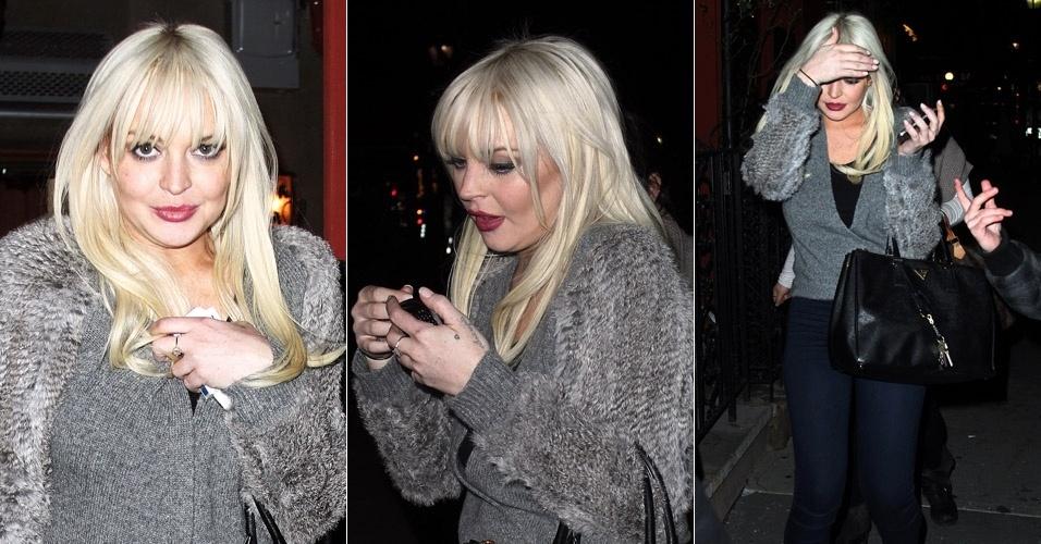 """Após participar do programa """"Saturday Night Live"""", Lindsay Lohan apareceu com o rosto inchado nas ruas de Nova York. Sites especulam que a atriz de 25 anos tenha feito algum tratamento estético, como botox (28/2/12)"""