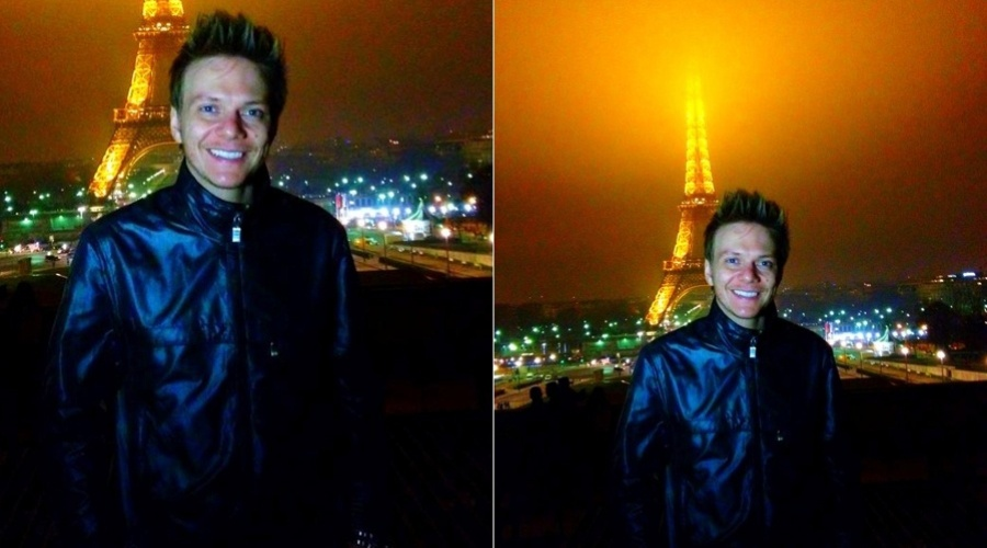 Michel Tel&#243; visita a Torre Eiffel, em Paris, Fran&#231;a (29/2/2012)