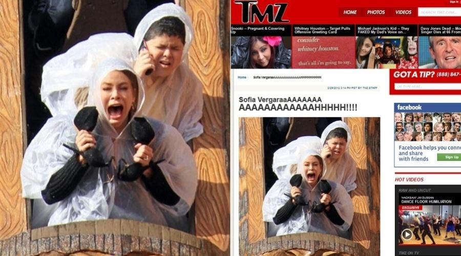 Sofia Vergara brinca em montanha-russa. A imagem foi divulgada pelo site TMZ nesta quarta (29/2/2012)