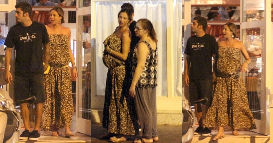 Na reta final da gravidez, Luana Piovani sai para jantar com o marido, Pedro Scooby, no bairro do Leblon, no Rio de Janeiro, e exibe