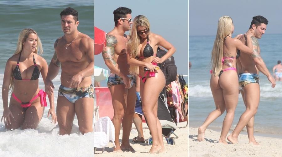 A panicat Aryane Steinkopf  curte praia acompanhada do namorado, Wellington Jr (2/3/2012)