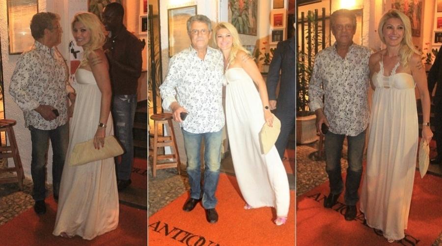 No dia do seu aniversário, Marcos Paulo janta com a mulher, Antônia Fontenelle, no Rio (1/3/12)