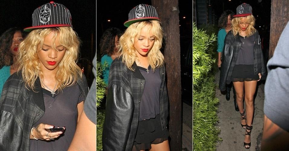 Com blusa transparente e sem sutiã, Rihanna é vista ao sair da balada Grestone Manor em West Hollywood, na Califórnia (4/3/12)