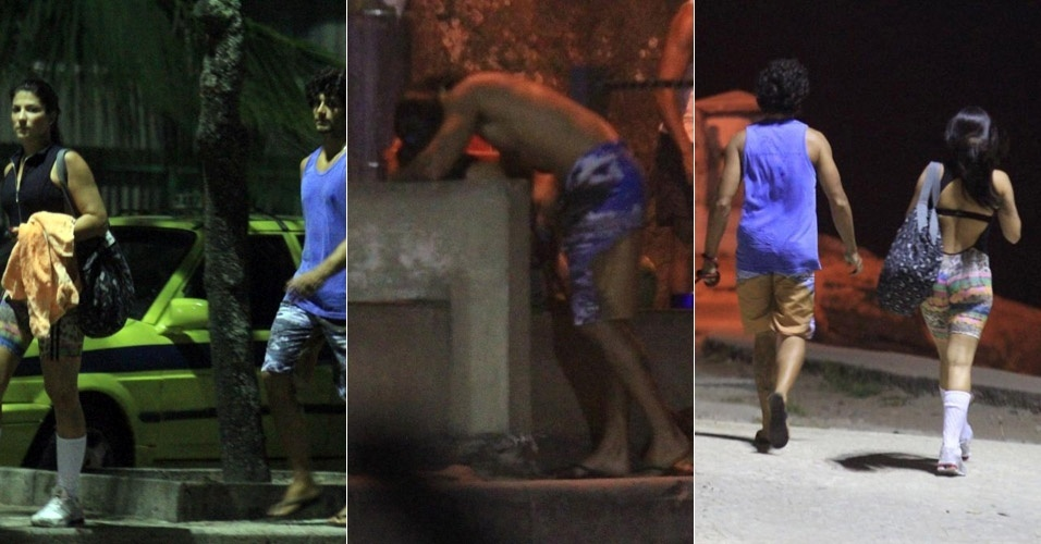 O modelo Jesus Luz, ex-namorado de Madonna, foi visto aos beijos com a ex-dançarina do Latino, Thábata Carvalho, no Arpoador, no Rio de Janeiro (5/3/12)