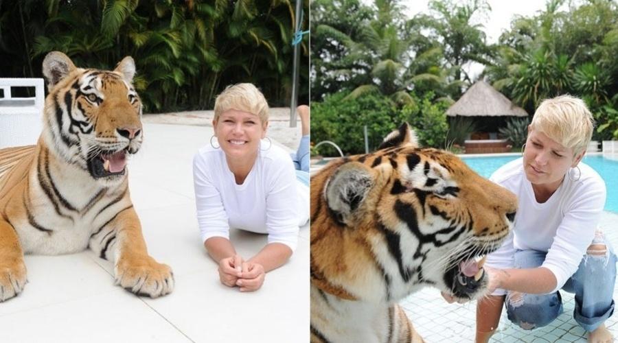 Xuxa posa ao lado de um tigre em sua casa, na zona oeste do Rio (6/3/2012)