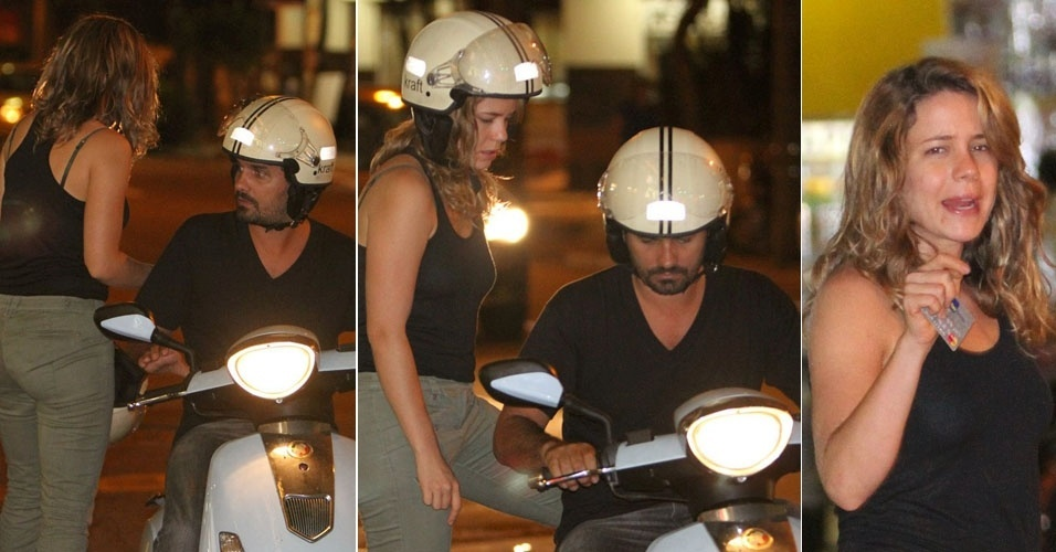 A atriz Leandra Leal monta na garupa da moto do namorado Alexandre Youssef nas ruas da Gávea, no Rio (7/3/12)