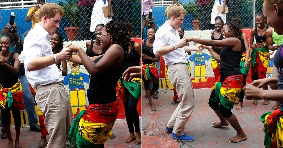 Na Jamaica, pr&#237;ncipe Harry visita centro comunit&#225;rio de jovens e mostra seu talento com a dan&#231;a. Ele foi recebido por Rita Marley, vi&#250;va de Bob Marley. O pr&#237;ncipe viaja pela Am&#233;rica Central e do Sul em comemora&#231;&#227;o ao Jubileu de Diamantes da Rainha Elizabeth 2, sua av&#243;, pelos seus 60 anos na monarquia brit&#226;nica. Harry desembarca no Brasil sexta-feira (9/3) (6/3/12)