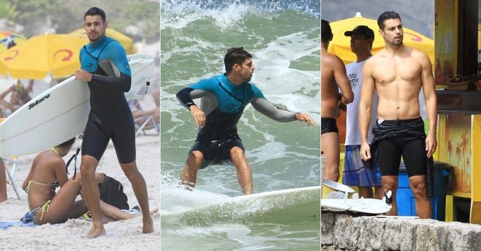 O ator Cauã Reymond surfa na Prainha, no Rio de Janeiro (7/3/12)
