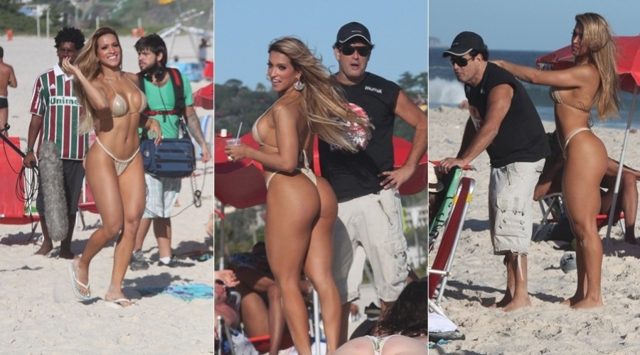 Sérgio Mallandro grava programa na praia da Barra da Tijuca, zona oeste do Rio (7/3/2012)