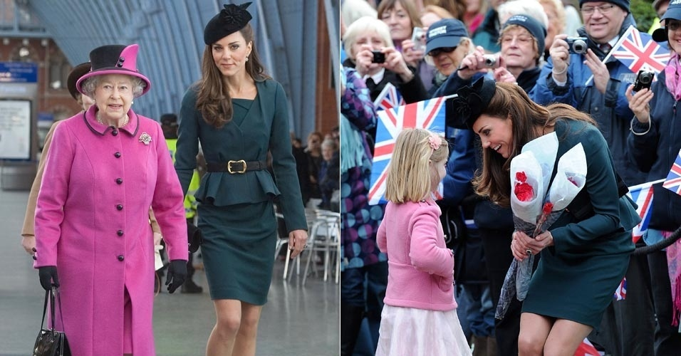 Kate Middleton acompanha a rainha Elizabeth II no primeiro dia do Jubileu de Diamante pelo Reino Unido, que comemora os 60 anos da rainha na monarquia inglesa (8/3/12)