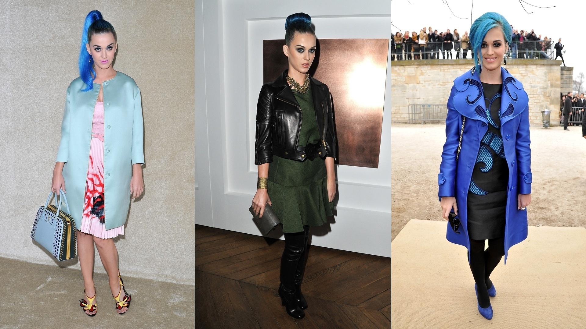 Katy Perry prestigiou vários desfiles durante a Semana de Moda de Paris. A cantora aproveitou a chance para mostrar os modelitos incomuns que são sua marca registrada (7/3/12)