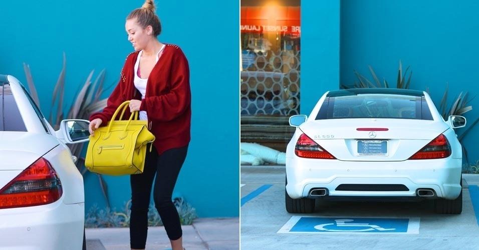 Miley Cyrus vai à aula de pilates, em Los Angeles e estaciona em vaga para deficientes (7/3/12)