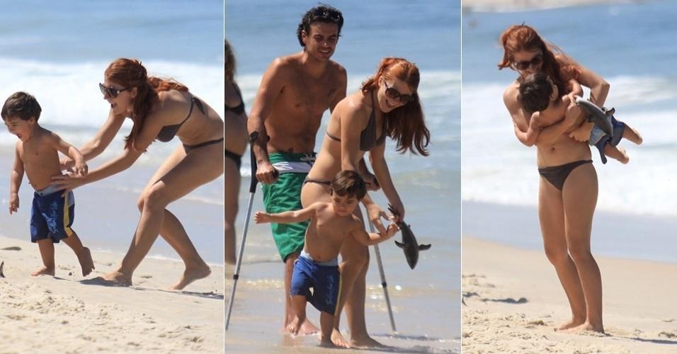 A atriz e apresentadora Mariah Rocha vai com a família à praia de Ipanema, no Rio de Janeiro (9/3/12)