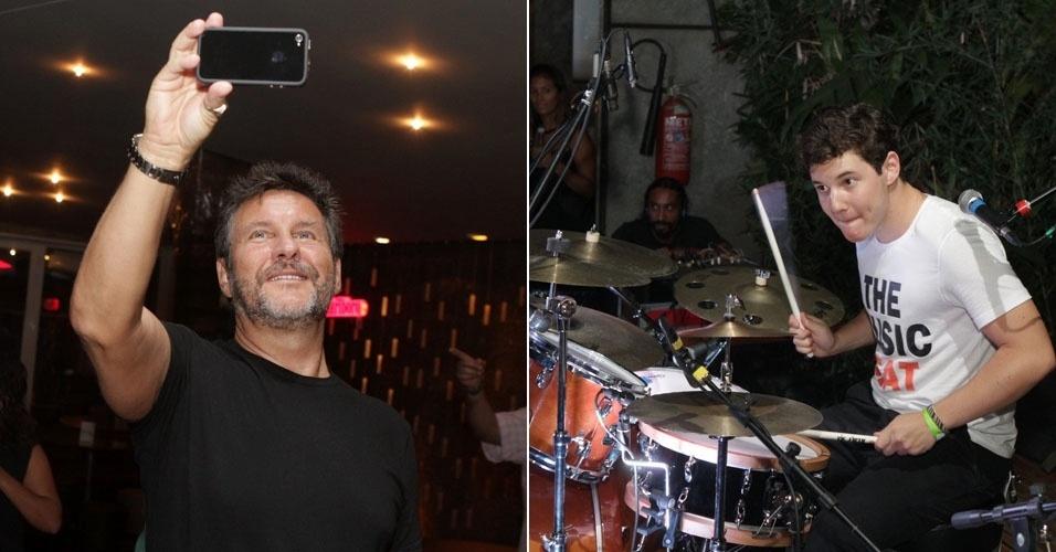 """Antonio Calloni foi prestigiar a banda do filho Pedro em uma boate na Gávea, no Rio de Janeiro. A banda do rapaz  se chama """"Le raleh"""" (11/3/12)"""