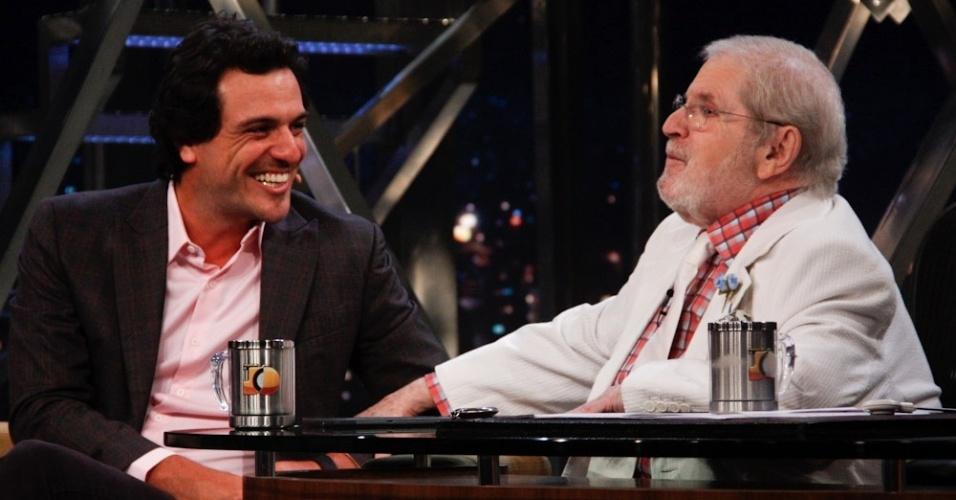 """Rodrigo Lombardi é entrevistado por Jô Soares durante as gravações da nova temporada do """"Programa do Jô"""" (12/3/2012)"""