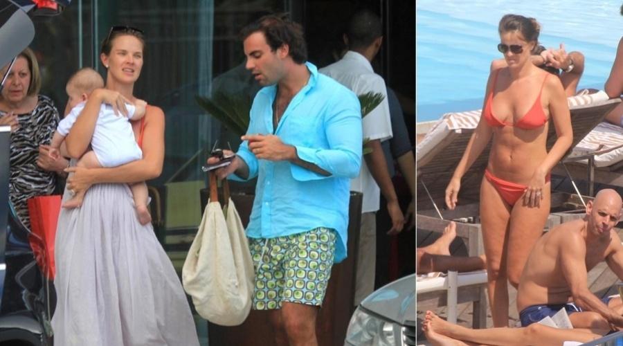 Letícia Birkheuer e o marido Alexandre Furmanovich chegam a hotel na zona sul do Rio (12/3/12)