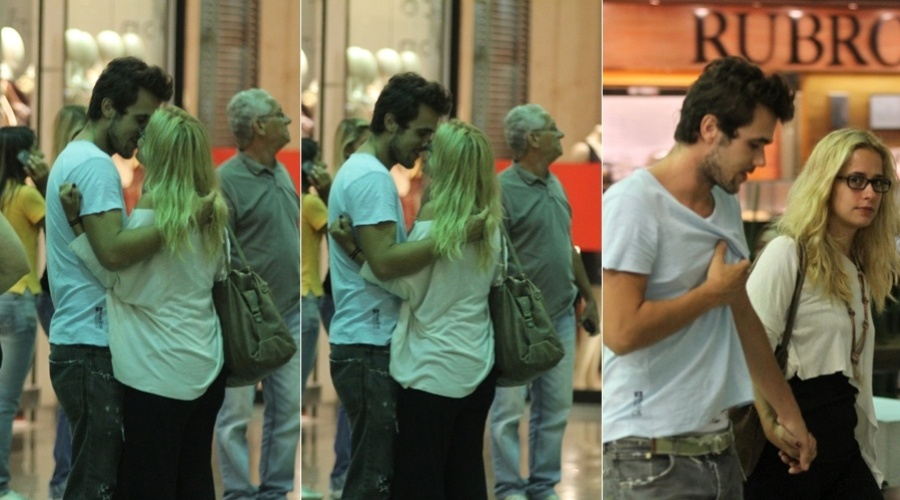 Paloma Duarte e Bruno Ferrari se beijam durante passeio em shopping da zona oeste do Rio (14/3/2012)