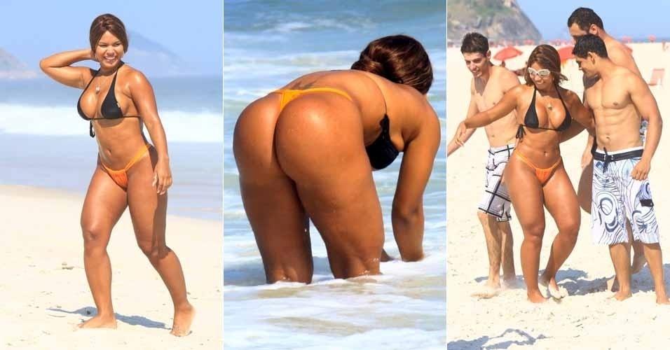 Após gravação na praia, Mulher Jaca dá um mergulho na Barra da Tijuca e desperta a curiosidade dos banhistas (15/3/12)