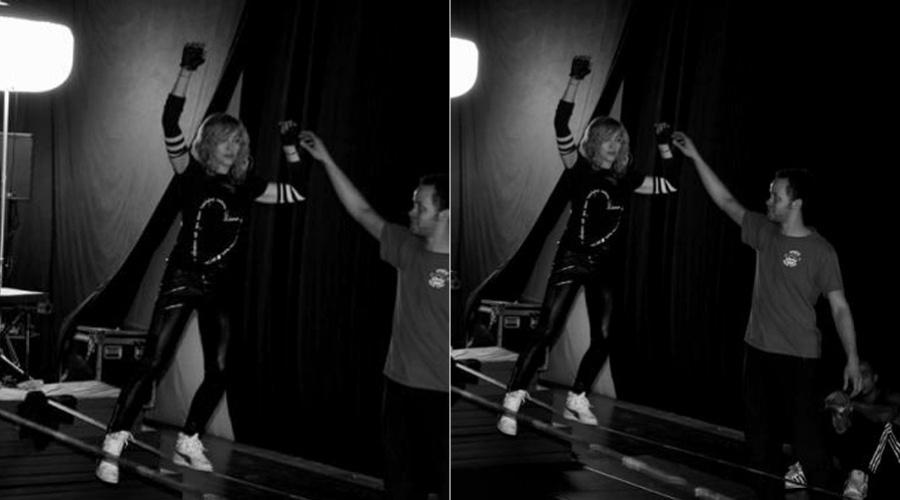 Madonna anda na corda bamba durante ensaios para sua nova turnê (16/3/2012)
