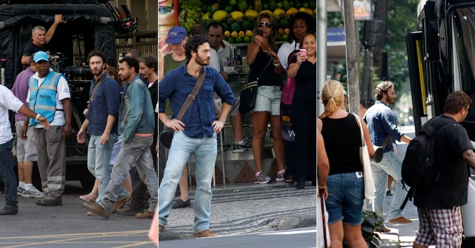 Gabriel Braga Nunes grava cenas da novela Amor Eterno Amor, em Copacabana, no Rio. O ator embarcou em um ônibus e enquanto esperava o veículo, fãs tiraram fotos com o celular (17/3/12)