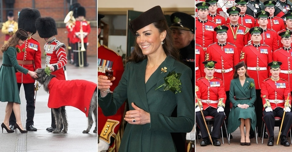 Kate Middleton, esposa do pr&#237;ncipe William, visita a guarda real irlandesa no dia de S&#227;o Patr&#237;cio, padroeiro da Irlanda. Kate presenteou os guardas com shamrocks, tradicional talism&#227; de sorte irland&#234;s. A duquesa tamb&#233;m brincou com o cachorro mascote da guarda, posou para fotos e bebeu licor (17/3/12) 