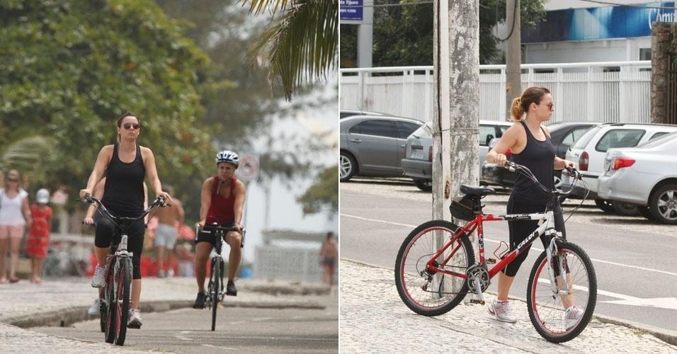 Regiane Alves aproveitou o sábado para pedalar na orla da Barra, no Rio de Janeiro (17/3/12)