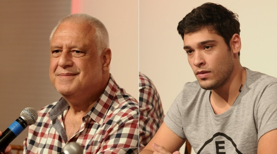Ant&#244;nio Fagundes e o filho, Bruno Fagundes, em coletiva de imprensa para apresentar a pe&#231;a &#34;Vermelho&#34;, no Teatro Geo, em S&#227;o Paulo (20/3/2012)