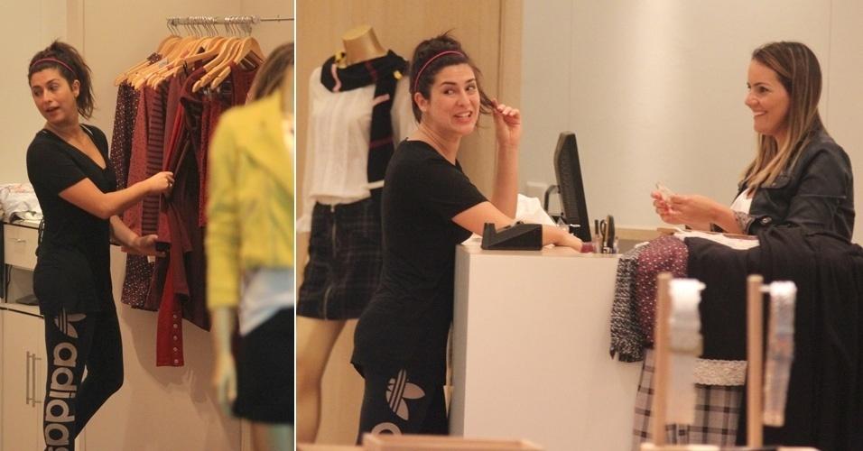 A atriz Fernanda Paes Leme faz compras em shopping na zona oeste do Rio de Janeiro (21/3/12)