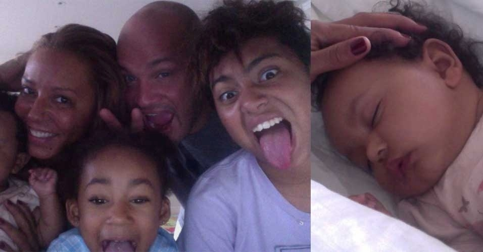 A ex-Spice Girl Mel B posta foto no Twitter ao lado da fam&#237;lia. &#34;Essa &#233; nossa fotos de fam&#237;lia, encantadora n&#227;o?&#34;, disse. Em outra publica&#231;&#227;o, Mel mostrou sua ca&#231;ula Madison dormindo. &#34;N&#243;s temos a beb&#234; mais linda do mundo&#34;, corujou
